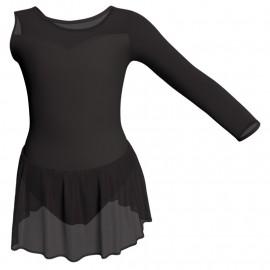 Body danza Monospalla con inserto in rete o pizzo e gonnellino in chiffon SK1LPC1019SST