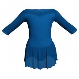 Body danza maniche 3/4 con inserto in rete o pizzo e gonnellino in chiffon SK1LPC105