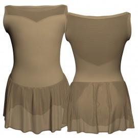 Body danza senza maniche con inserto in rete o pizzo e gonnellino in chiffon SK1LPC105SS