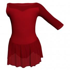 Body danza Monospalla con inserto in rete o pizzo e gonnellino in chiffon SK1LPC105SST