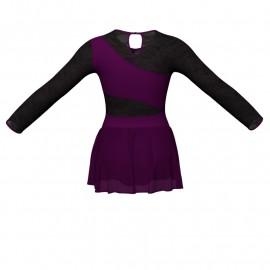 Body danza maniche lunghe con inserto in rete o pizzo e gonnellino in chiffon SK1LPC108