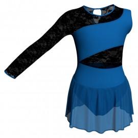 Body danza Monospalla con inserto in rete o pizzo e gonnellino in chiffon SK1LPC108SS