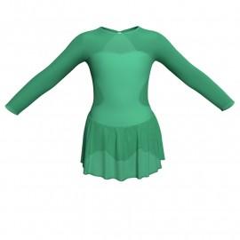 Body danza maniche lunghe con inserto in rete o pizzo e gonnellino in chiffon SK1LPC110