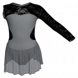 Body danza Monospalla con inserto in rete o pizzo e gonnellino in chiffon SK1LPC110SST