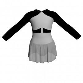 Body danza maniche lunghe con inserto in rete o pizzo e gonnellino in chiffon SK1LPC113