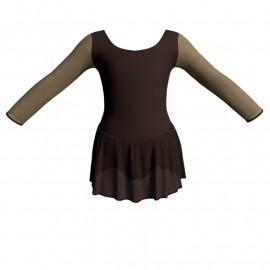 Body danza maniche lunghe con inserto in rete o pizzo e gonnellino in chiffon SK1LPC405T
