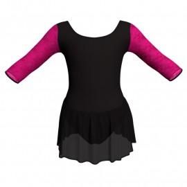 Body danza maniche 3/4 con inserto in rete o pizzo e gonnellino in chiffon SK1LPC406T