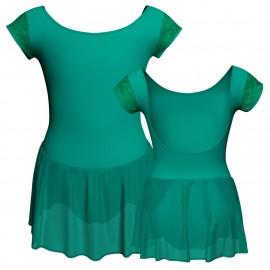 Body danza maniche aletta con inserto in rete o pizzo e gonnellino in chiffon SK1LPC414T