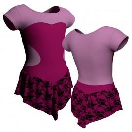 Body danza con gonnellino in belen pro maniche aletta e inserto SK714LCB1001