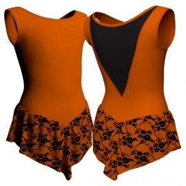 Body danza con gonnellino in belen pro senza maniche e inserto SK714LCB1003