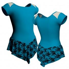 Body danza con gonnellino in belen pro maniche aletta e inserto SK714LCB1004