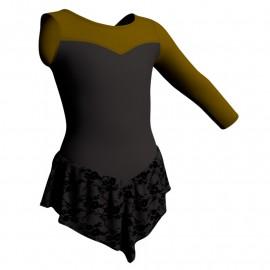 Body danza con gonnellino in belen pro monospalla e inserto SK714LCB1019SST