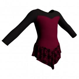 Body danza con gonnellino in belen pro maniche lunghe e inserto SK714LCB1019
