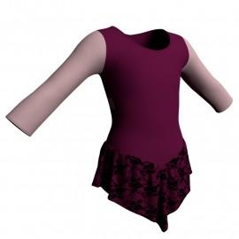 Body danza con gonnellino in belen pro maniche lunghe e inserto SK714LCB102