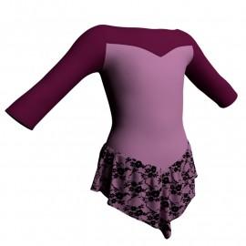 Body danza con gonnellino in belen pro maniche 3/4 e inserto SK714LCB105