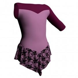 Body danza con gonnellino in belen pro monospalla e inserto SK714LCB105SST