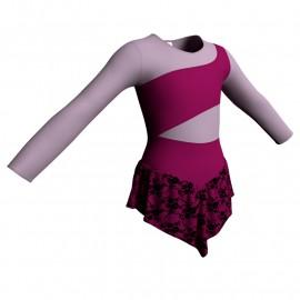 Body danza con gonnellino in belen pro maniche lunghe e inserto SK714LCB108
