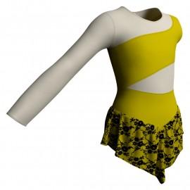 Body danza con gonnellino in belen pro monospalla e inserto SK714LCB108SS